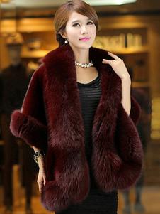 معطف الفرو الفراء عنابي طويل الأكمام معاطف الشتاء للنساء