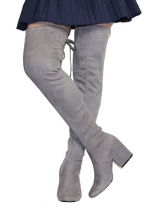 Botas altas mujer Color nude con cordones con pala de spandex de tacón gordo de puntera cuadrada 7.5cm Color liso Otoño Invierno slip-on