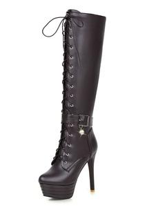 Botas até joelho para mulher com laço para street wear Botas 5.1