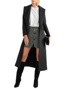 أسود معطف الصوف طويلة الأكمام طوق طوق انقسام النساء معطف الشتاء