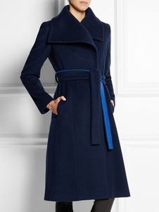 المرأة معطف الصوف الشتاء طويلة الأكمام طوق طوق ديب التفاف معطف