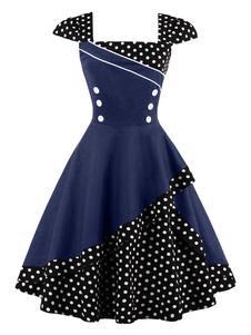Женское старинное платье Black Polka Dot Button Летнее платье 1950-х годов