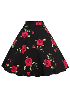 Gonna casuale accessori non inclusi. vintage cotone stampa floreale bianca rossa gonna al ginocchio