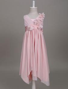 زهرة فتاة فساتين استحى الوردي بوهو الخامس الرقبة مطوي الكشكشة الاطفال حزب ارتداء اللباس