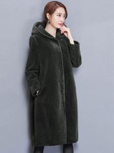 Женское пальто с капюшоном с длинным рукавом