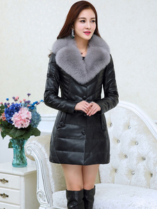 Black Quilted Coat Faux Fur Notch Collar manga comprida Mulheres Winter Coat