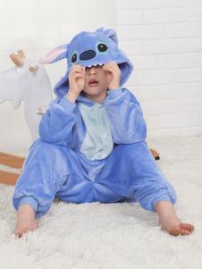 Stitch Onesie Kigurumi Pijama Franela azul para niños Ropa de dormir de invierno Mascota Animal Disfraz de Halloween