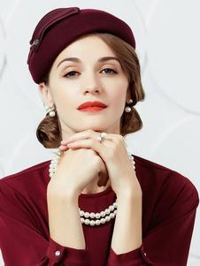 Vintage Hat Beret Mulher Borgonha Lã Inverno Chapéu Costume Acessórios