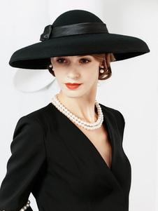 Disfraz Carnaval Sombreros de invierno Vintage Sombrero de lana negro para mujer Carnaval