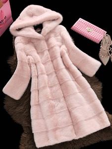 معطف الفرو الفراء مقنعين طويلة الأكمام معطف الشتاء الوردي للنساء