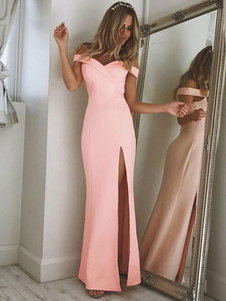 Vestido rosa feminino Fora do ombro Fenda Vestido maxi feminino