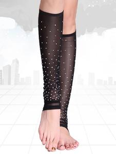 Costume Carnevale Costume di danza del ventre Interpretazione nero per donno monocolore accessori calze in tulle