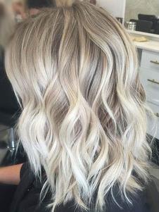 peluca de pelo humano 2020 peluca rizada larga con flequillo de lado color beige de mujer