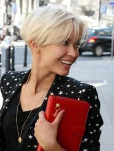 peluca de cabello humano peluca corta recta marginal con capas de color beige de mujer
