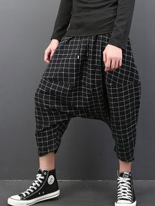 Pantalones largos de poliéster negros con dibujo de cuadros estilo moderno de harén para pasar por la noche
