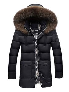 معطف رجالي أسود مع غطاء فضفاض ومغطى بالأكمام الطويلة 2020