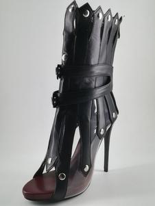Sandali stivali stivali neri casuale tacco a fino 10cm aperto con rivetti pU