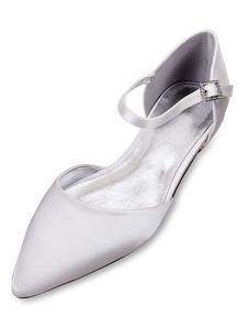 Zapatos de novia de seda y satén Zapatos de Fiesta Plana Zapatos blanco  Zapatos de boda de puntera puntiaguada 1.5cm con botones