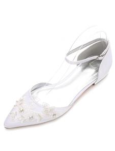 أحذية الزفاف الأبيض أشار تو شقة الدانتيل الكاحل الشريط أحذية الزفاف