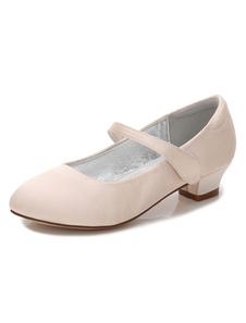 Sapatos de menina das flores meninas elegante PU Sapatos de cetim com velcro