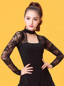 Vestido de Fantasia de dança preto Atuação cor sólida de raiom de fibra poliéster