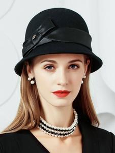 Vintage Black Hat Arcos de lã Mulheres Cloche Hat Costume Accessories