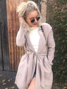 Abrigo de algodón mezclado con manga larga Encapuchado Color liso con bolsillos cómodo