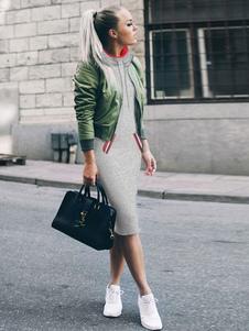 Vestido Recto de algodón mezclado Encapuchado con manga larga con bolsillos cómodo