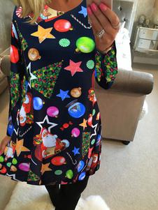 القبيحة اللباس عيد الميلاد طويلة الأكمام طباعة المرأة السوداء التحول اللباس