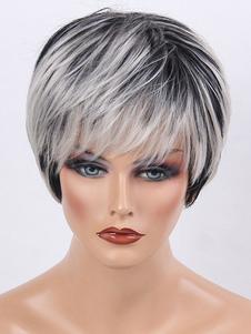 Pelucas de cabello humano negras Pixies & Boycuts estilo moderno 8 inches