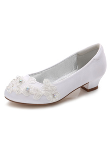 Flower Girls Shoes White Round Toe Chunky Heel Flores Bombas