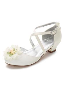Scarpe da damigella dei fiori per la festa di matrimonio Decolletè eleganti avorie Estate bambina rotondo seta e raso a fiori 3cm