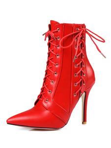 Botas Curtas para mulher para saída à Noite com laço Salto de PU dedo do pé pontiagudo 20-23cm Sola de Antiderrapante Borracha