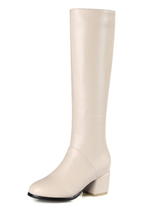 Женские коленные сапоги Ecru White Round Toe Зимние сапоги