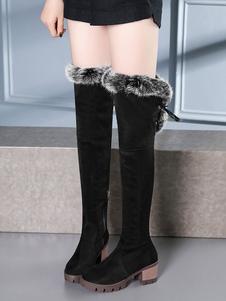 Коричневые замшевые сапоги над коленными сапогами Круглый кушетка с длинными сапогами для женщин