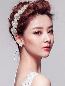 Белая женская головная повязка Кристалл Бисероплетение Нейлоновая полоса для волос