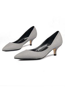 Tacchi con tacco gattino 2020 Camoscio scarpe a punta scarpe da donna
