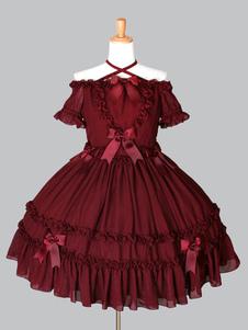 Рококо Лолита OP One Piece Dress Off Плечи Холтер с короткими рукавами оборки Луки шифон Бургундии Лолита платье