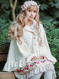 Sweet Lolita Cloak Neverland Tweed с капюшоном Луки Ruffles Bunny White Lolita Winter Coat