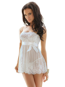 فستان بيبي دول أبيض مجموعة 2 قطعة الدانتيل الانحناء تول فستان مثير البسيطة مع سراويل للنساء