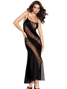 Vestido sexy de poliéster negro Color liso semi-transparente  sexy Primavera
