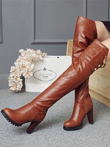 فوق الركبة الأحذية البني جولة اصبع القدم أحذية عالية الكعب النساء الأحذية