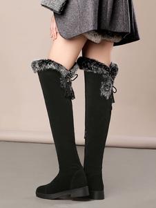 Stivali sopra al ginocchio neri grigii di pelle sintetica casual stivali tacco largo monocolore termico zip 51-53cm