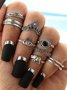 Этническое кольцо перста тиснением серебряное 8 частей женское кольцо
