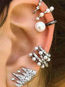 Pendientes plateados de metal con perlas Pendientes para mujer para fiesta