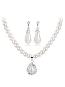 مجموعة مجوهرات الزفاف العاج اللؤلؤ الراين قلادة قلادة مع مثقوب أقراط