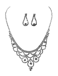 Серебряный свадебный комплект ювелирных изделий Rhinestones Lobster Claw Clasp Свадебное ожерелье с серьгами