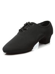 Scarpe da ballo latino americano nere uomo decolletè comode rotondo tacco largo 3cm medie