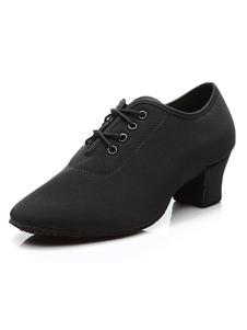 Латинская обувь для танцев Черный круглый Toe Chunky Heel Lace Up Women Shoes