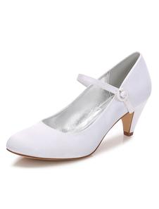 Sapatos De Casamento 2020 Das Mulheres Branco Saltos De Gatinho Rodada Toe Mary Jane Sapatos